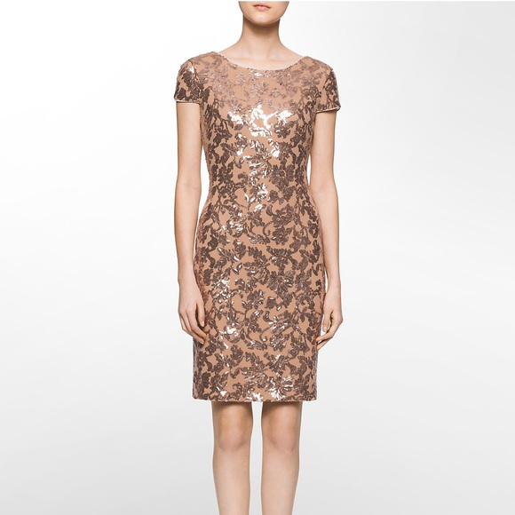 Calvin klein one-shoulder sequin short gold cocktail dress