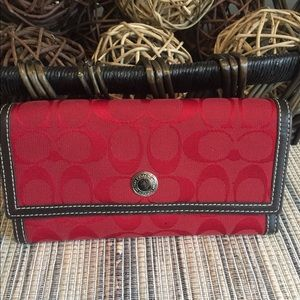 Like New Red Coach Signature Wallet