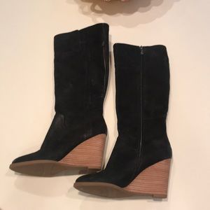 Franco sarto black wedge boot