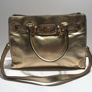 MK Hamilton rock 'n' roll pale gold leather tote.