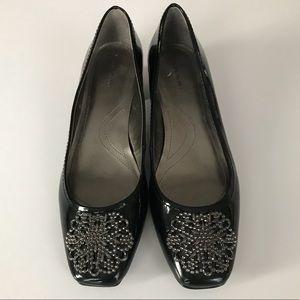 Tahari Grove Black Patent Chunky Heel