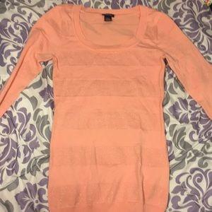 Rue21 Peach Sparkle Stripe Sweater
