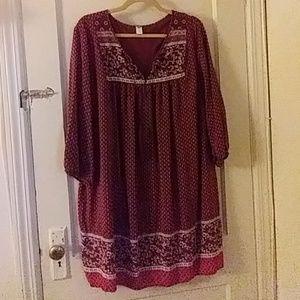 Old Navy Burgundy Floral Print Dress