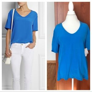 New Equipment 100% silk top M medium blue