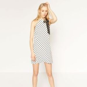 Zara Polka-dot halter dress, blk/wht, M