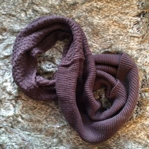Accessories - Brown Infinity Scarf with two knit patterns