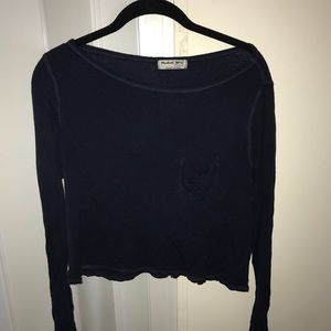 Navy Michael Stars cropped long-sleeve top