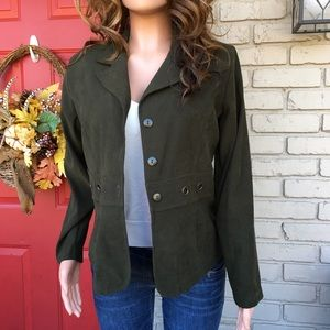 Hunter green gold detailed jacket