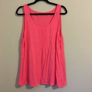 Eileen Fisher pink linen babydoll style tank top