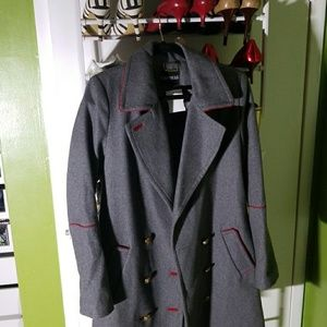 Express Gray military coat with red trimming