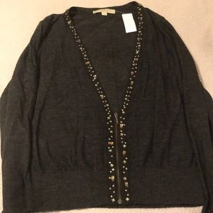 Loft Zippered Charcoal Sweater with Jewel accents