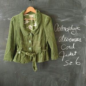 Anthropologie Elevenses Green Corduroy Blazer 6