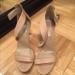 BCBG tan stiletto heels.