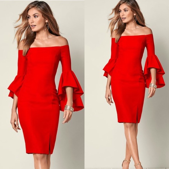 968cc668327 Red Off The Shoulder Bell Sleeve Dress