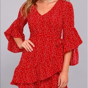 Lulus Whole Heart Red Polka Dot Wrap Dress