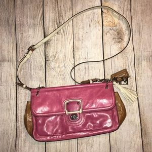 COACH crossbody bag in pink and tan