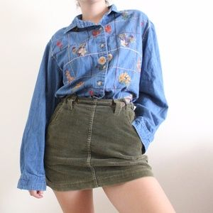 Vintage Floral Denim Button Up