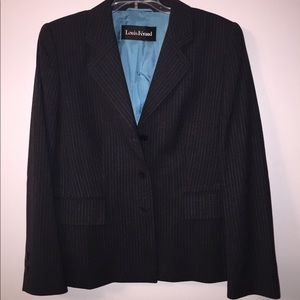 Gray and Blue Pinstripe Louis Feraud Pant Suit