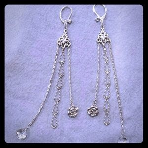 Betsey Johnson long silver earrings