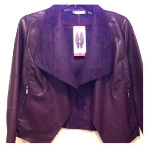 NWT Wine colored waterfall vegan leather jacket