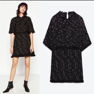 Zara Fringe and Tweed Dress