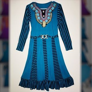 Beautiful blue and black midi casual dress
