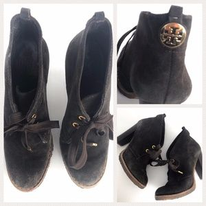Tory Burch Lace Up Booties Medallion Heels Shoes