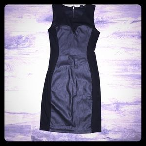H&M black and faux leather tank dress XS