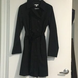 Double breasted black trench coat