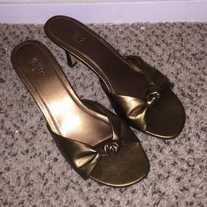 Bronze mossimo slip on heels!