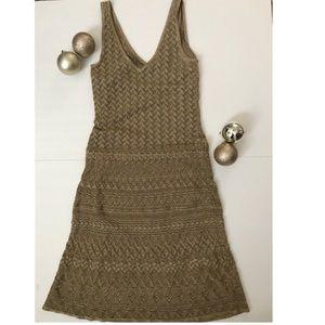 Lauren Ralph Lauren Metallic Gold Silk Blend Dress