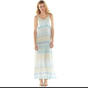 Lauren Conrad Blue Striped Maxi Dress SZ S