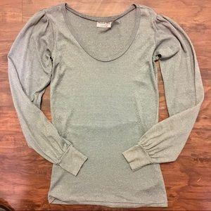 ❣️ Michael Stars Metallic Silver Scoop T Shirt OS