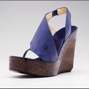 Costume National Blue Patent Sling Wedge