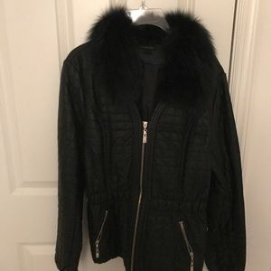 Faux leather and fur jacket...worn once...size lg