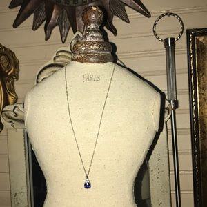 Genuine Vintage Cushion cut sapphire necklace