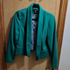 Green knit, fully lined blazer jacket