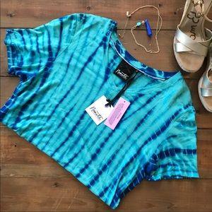Nanette Lepore Blue Tie Die Tee Shirt NWT