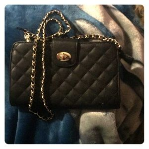 Black quilted purse