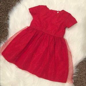 18 MO Girls Sparkly Red & Gold Holiday Dress