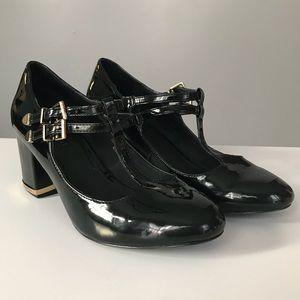 Topshop T-Strap Maryjanes Black Patent Heels