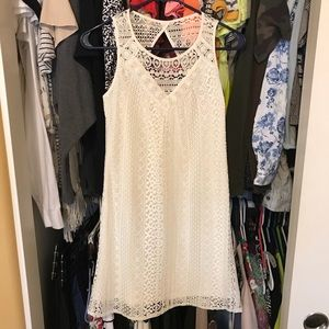 white lace cut out mini shift dress