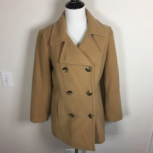 Classic Tan Wool Double Breasted Peacoat