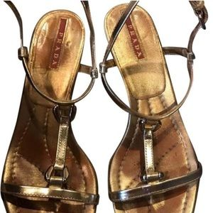 Prada gold leather heeled shoes/sandals 36.5