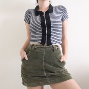 Vintage Striped Cropped Tee