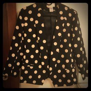 Anthropologie Black Polka dot blazer Size 2