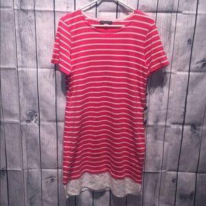 Tommy Hilfiger pink stripe shirt dress Lace trim