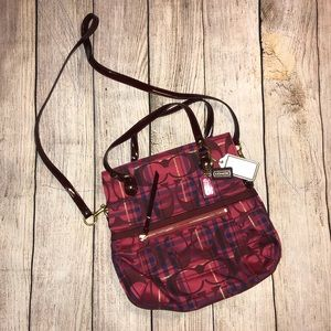 COACH crossbody bag in burgundy and pink