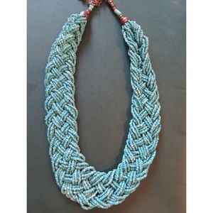 Bead braided turquoise necklace