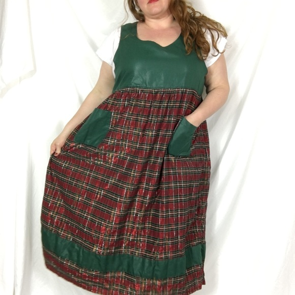 plaid plus size christmas dress